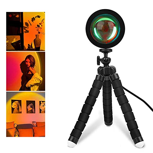 Clicked Sunset Lamp,Sunset Projection Lamp 360 Degree Rotation Sunset Night Light Network Red Light USB Romantic Rainbow Projection Lamp for Party Theme Bedroom Decor(Sunset Red)