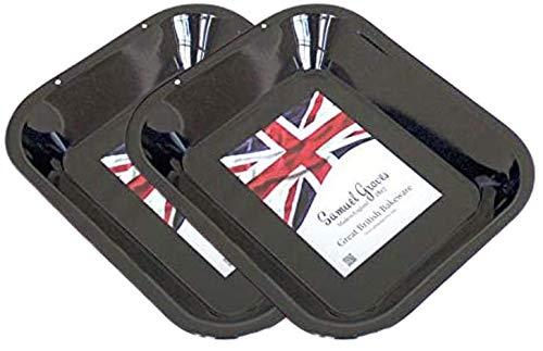 2X 28cm Vitreous Enamel Roasting Pan, Made in England by Chabrias LTD