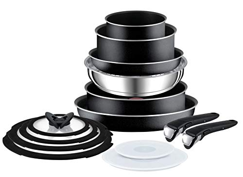 Tefal Ingenio Essential Antihaft-Kochtopf-Set, Schwarz , 14 Piece