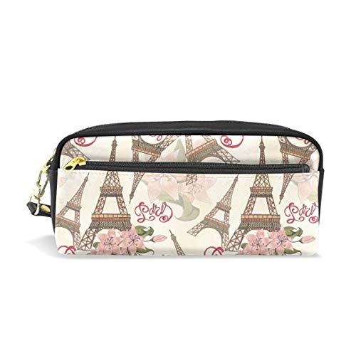 Reißverschlusstasche Geldbörse Brillenetui Kosmetische Schminktasche Blumenmuster Eiffelturm Paris London Federmäppchen Stift Stationäre Tasche für Student Boy Girl Love