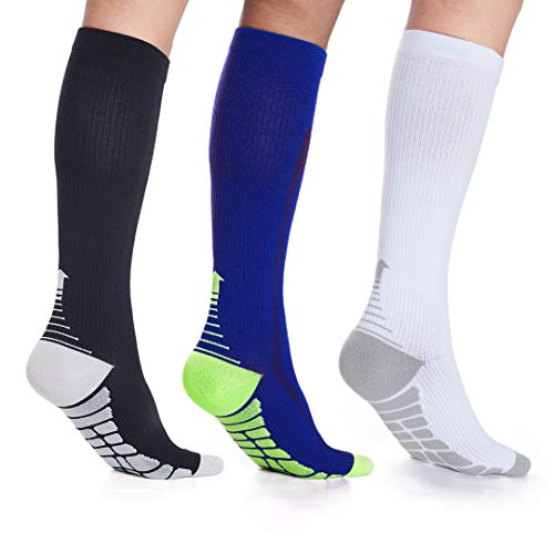 3 Pairs Compression Socks Women Men 20-30mmHg Circulation Stockings Nursing Socks for Nurse,Flight,Sports
