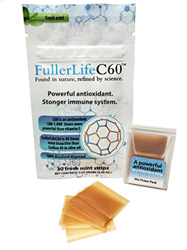 Carbon 60 Antioxidant Dissolvable Strips | Immunity Booster | Pure 9999% C60 Solvent Free | Not C60 in Olive Oil | Fully Dissolved amp Dispersed Solubilized C60