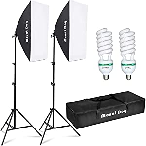 MOUNTDOG Softbox Lighting Kit Photography Studio Light 2x50x70cm Professional Continuous Light System with E27 95W Bulbs 5500K Photo Equipment for Filming Model Portraits Advertising Shooting