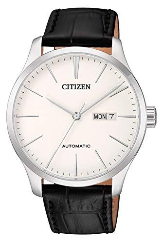 Citizen NH8350-08B - Orologio automatico da uomo con cinturino in pelle, quadrante bianco e data