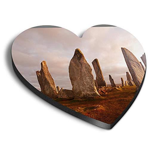 Destination Vinyl ltd Imanes de corazón MDF – Piedras Neolíticas Isla de Lewis Escocia para oficina, armario y pizarra blanca, pegatinas magnéticas 15717