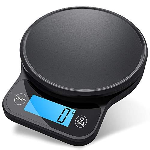 NBPOWER Báscula de cocina digital profesional de 6 kg, báscula digital de acero inoxidable con función de tara y gran pantalla LCD, excelente precisión de hasta 1 g