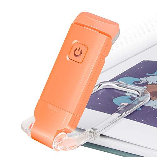HONWELL Lámpara de lectura con clip LED Luz de libro, Luz de lectura para libros en la cama, Luz para el cuidado de los ojos, USB recargable, 2 configuraciones de brillo para protección ocular,naranja