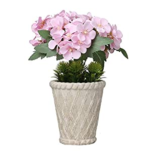 Silk Flower Arrangements SAROSORA Artificial Begonia Flowers in Vintage Roman Flower Pot Plants for Wedding Festival Indoor Home Decoration (Pink, White Pot)
