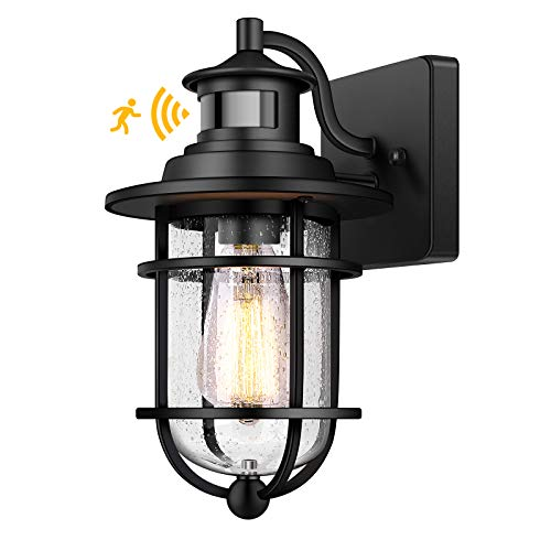 Motion Sensor Outdoor Wall Lantern Dusk to Dawn Waterproof Exterior Wall Sconce With Seeded Glass Black Wall Mount Light Fixture for Porch Doorway Garage, E26 Socket, Motion Activated