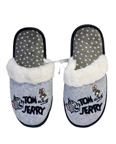 Tom and Jerry Damen Hausschuhe bestickt Indoor Slip On Pantoletten, Grau - grau - Größe: Medium