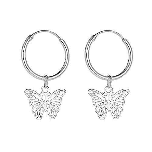 Pendientes de aro para mujer, Hunpta pequeños pendientes de aro con colgante de mariposa, pendientes de aro