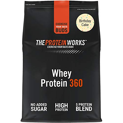 THE PROTEIN WORKS Whey Protein 360 Powder | High Protein Shake | No Added Sugar and Low Fat | Protein Blend | Birthday Cake | 600 g