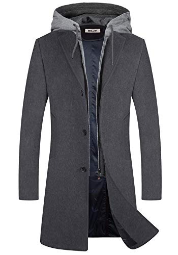 Mens Trench Coat Wool Blend Top Pea Coat Winter Long Single Breasted Overcoat (1961) - Gray M
