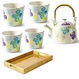 Juego de tetera de cerámica japonesa, juego de té femenino,regalo,tetera de la tarde,juego de taza de té,que incluye una tetera,una bandeja y cuatro tazas de té (Purple)