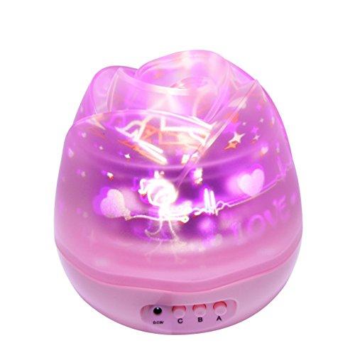 SUAVER Rosebud 360 Grad Romantische Stern LED Nachtlicht Mond Lampe Projektionslampe Schlafzimmer Rose Nachtlicht für Kinder, Baby, Liebhaber (Rosa)