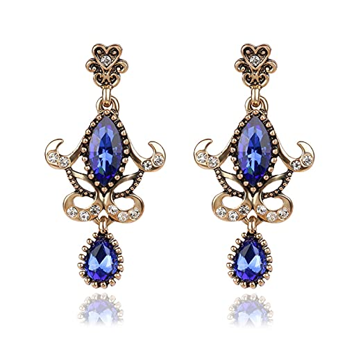 Pendiente de joyería azul, aspecto vintage, color dorado, mosaico de cristal, pendientes de ancla de boda para regalo de mujer