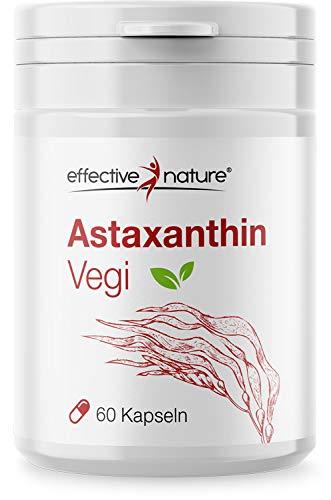 effective nature - Astaxanthin vegi - 8mg Astaxanthin pro Tagesdosis - Vegetarische Kapseln - Mit Vitamin C und Vitamin E - 60 Kapseln