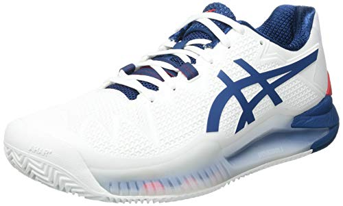 ASICS Gel-Resolution 8 Clay, Scarpe da Tennis Uomo, White/MAKO Blue, 43.5 EU