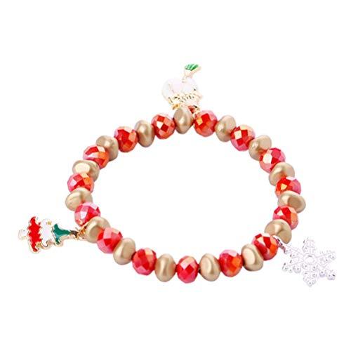 BBGSFDC Weihnachten Armband Perlenarmband mit Weihnachtsbaum Kranz Zuckerstange Anhänger-Charme-Weihnachtsschmucksachen Xmas Party bevorzugt Geschenke for Frauen Mädchen (Color : Snowman)