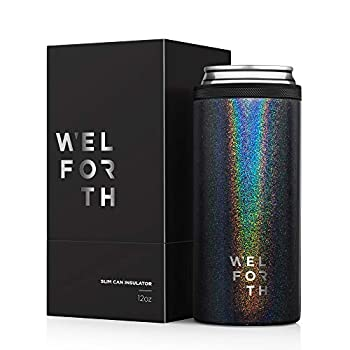 Welforth Slim Can Cooler Can Insulator Thermocoolers with exquisite box for 12oz Skinny Can  GLITTER BLACK
