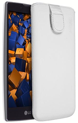 mumbi Echt Ledertasche kompatibel mit LG G4C / Magna Hülle Leder Tasche Hülle Wallet, weiss