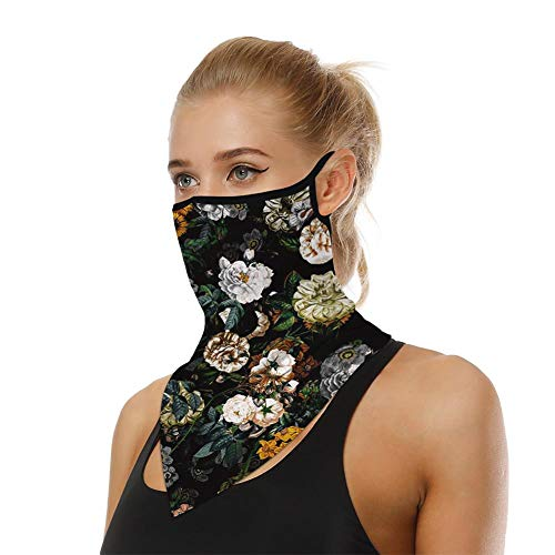 Unisex Novel Floral Ear Loops Bandanas Balaclava Boho Rave Sports Casual Headwear Multifunctional Seamless Neck Gaiter UV Protection Headwrap Women Men Motorcycle Face Scarf for Dust, Yago, Outdoor