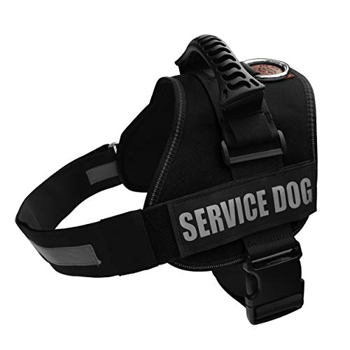 ALBCORP Service Dog Vest Harness - Reflective - Woven Polyester & Nylon, Comfy Mesh Padding, Medium, Black