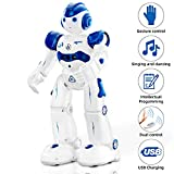 NEWYANG Robot Giocattolo Bambini - Robot Telecomandato con Intelligente Programmabile, Gesture Sensing,Parla,Cammina,Cantando e Balla,USB Ricarica Toy Robot (Blu)
