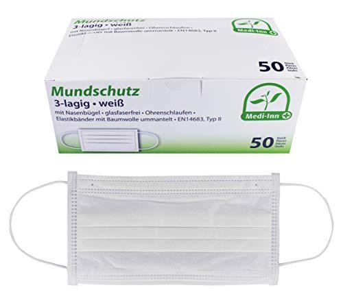 Medi-Inn Mundschutz Atemschutz Gesichtsmaske Einwegmaske mit Elastikbändern Typ II 3-lagig weiß (50 Stück)