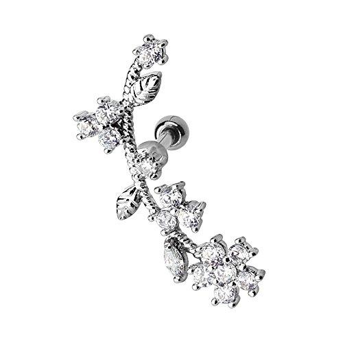 Piercingfaktor Tragus Helix Ohr Cartilage Knorpel Piercing 316 L Chirurgenstahl Stecker mit Kristall Blumen Kugel Silber rechtes Ohr