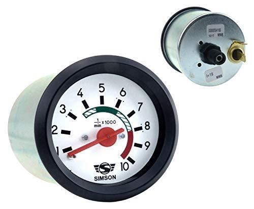 Drehzahlmesser Ø60mm mit Beleuchtung und Masseanschluss - 12V - roter Zeiger, weißes Ziffernblatt, SIMSON-Logo