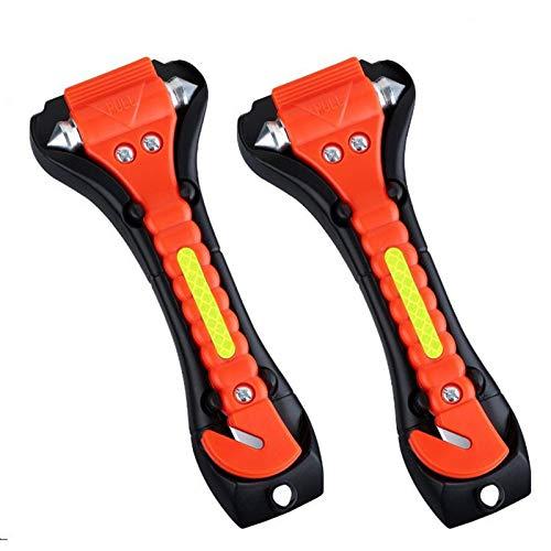 N \ A Autosicherheitshammer, Fluchtwerkzeug Mit Rutschfestem Sicherheitsgurtschneider, Lebensrettender Notglas- / Fensterstanzbrecher Auto Rescue Hammer 2er Pack