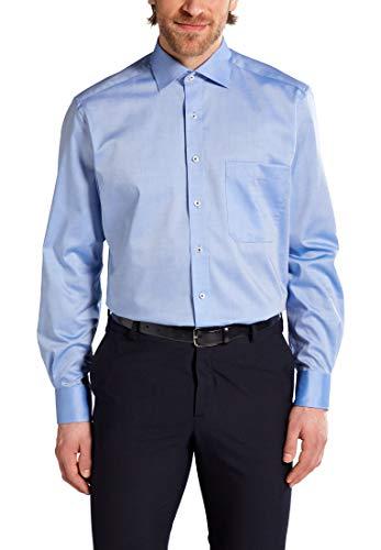 eterna Langarm Hemd Comfort FIT Pinpoint unifarben, Mittelblau, 42 EU