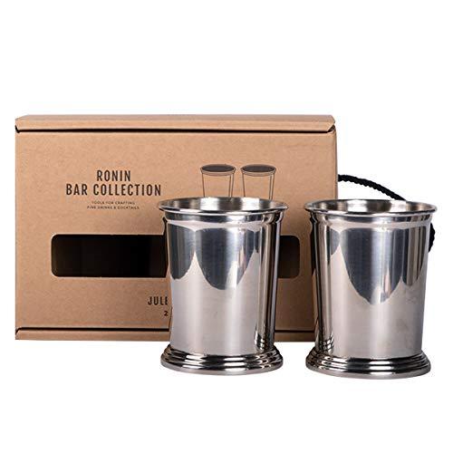 Ronin Bar Collection Cocktail Set Julep Cups, Geschenkbox, 2 hochwertige Edelstahl Becher poliert, Trinkbecher top verarbeitet