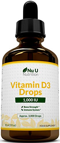 Vitamin D Drops 1000 IU 10,000 IU per 10 Drops - 50% More 90ml Equivalent to 3000 Drops - High Strength Liquid D3 in MCT Oil with Flexible Dosage - High Strength Vitamin D Supplement