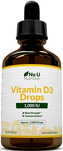 Vitamin D Drops 1000 IU 10,000 IU per 10 Drops - 50% More 90ml Equivalent to 3000 Drops - High Strength Liquid D3 in MCT Oil with Flexible Dosage - High Strength Vitamin D Supplement