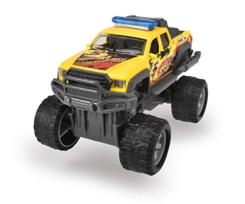 Dickie Toys 203752011 Rally Monster, Spielzeugauto mit Rückzugsmotor, Gummireifen, Federung, 3, Lieferung 1 Stück, blau, gelb oder weiß, zufällige Auswahl, 15 cm