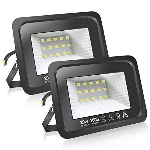 Faretti a LED per esterni Potenti luci a LED per esterni IP65, giardino, patio, parco, garage,2 Pezzi (6500K, 20W)