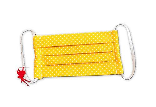 Mund-Nasen-Maske gelb Punkte für Erwachsene Alltagsmaske Baumwolle