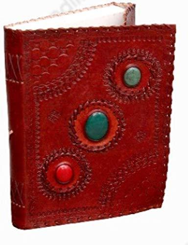 Crafting with Love - Agenda de piel marrón hecha a mano con tres piedras preciosas, LXW: 7 x 10 pulgadas, peso: 650 GM