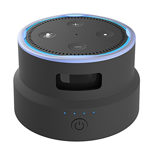 Smatree Portable Battery Base/Protective Cover for 2nd Generation Echo Dot (Black)