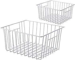 Slideep Refrigerator Freezer Bins Organizer Basket, Deep Wire Household Bins Container with Handles for Kitchen, Pantry, Freezer, Cabinet, Car, Bathroom - Pearl White, Set of 2