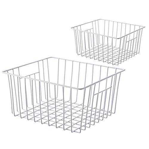 Sanno - Cesta de almacenaje (26 x 28 x 18 cm, para frigorífico, de hierro con capa protectora de plástico) 2 unidades Blanco