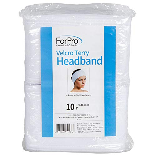 "ForPro Terry Headband, Adjustable Velcro Closure Spa Headband, 3"" W x 18"" L, 10-Count"