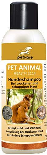 Peticare Spezial-Shampoo für Hunde - Hochwirksame, dermatologische Pflege bei trockener Haut und Schuppen, lindert Juckreiz, regeneriert die Hundehaut, 100% biologisch - petDog Health 2114 (250 ml)