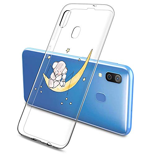 Oihxse Compatible pour Silicone Samsung Galaxy A50/A30S/A50S Coque Crystal Transparente TPU Ultra Fine Souple Housse avec Motif [Elephant Lapin] Anti-Rayures Protection Etui (A7)