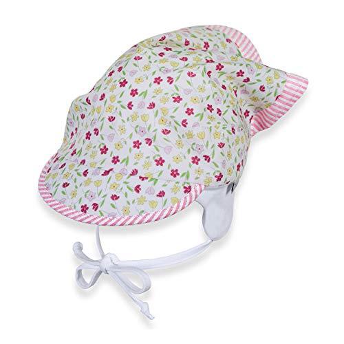 Sterntaler Sterntaler Kopftuch für Mädchen mit Bindebändern und Blümchenmuster, Alter: 9-12 Monate, Größe: 47, Weiß