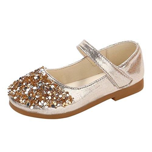 ELECTRI Enfants garçons et Filles Enfants Strass Automne Strass Princesse Chaussures Petites Chaussures Chaussures Simples (27 EU, Or)