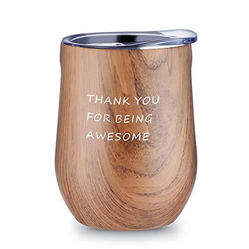 Dankeschön-Geschenke, Muttertagsgeschenk, 340 ml, Weinglas mit Deckel, ohne Stiel, doppelwandig, Vakuum-Reisebecher, Edelstahlbecher, bestes Weihnachtsgeschenk für Frauen