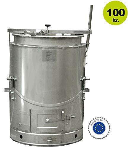 Yerd Edelstahl Futterdämpfer - kippbarer Outdoor Kochkessel/Gulaschofen/Edelstahl Holzofen/Brühkessel (100 Liter Edelstahlkessel)